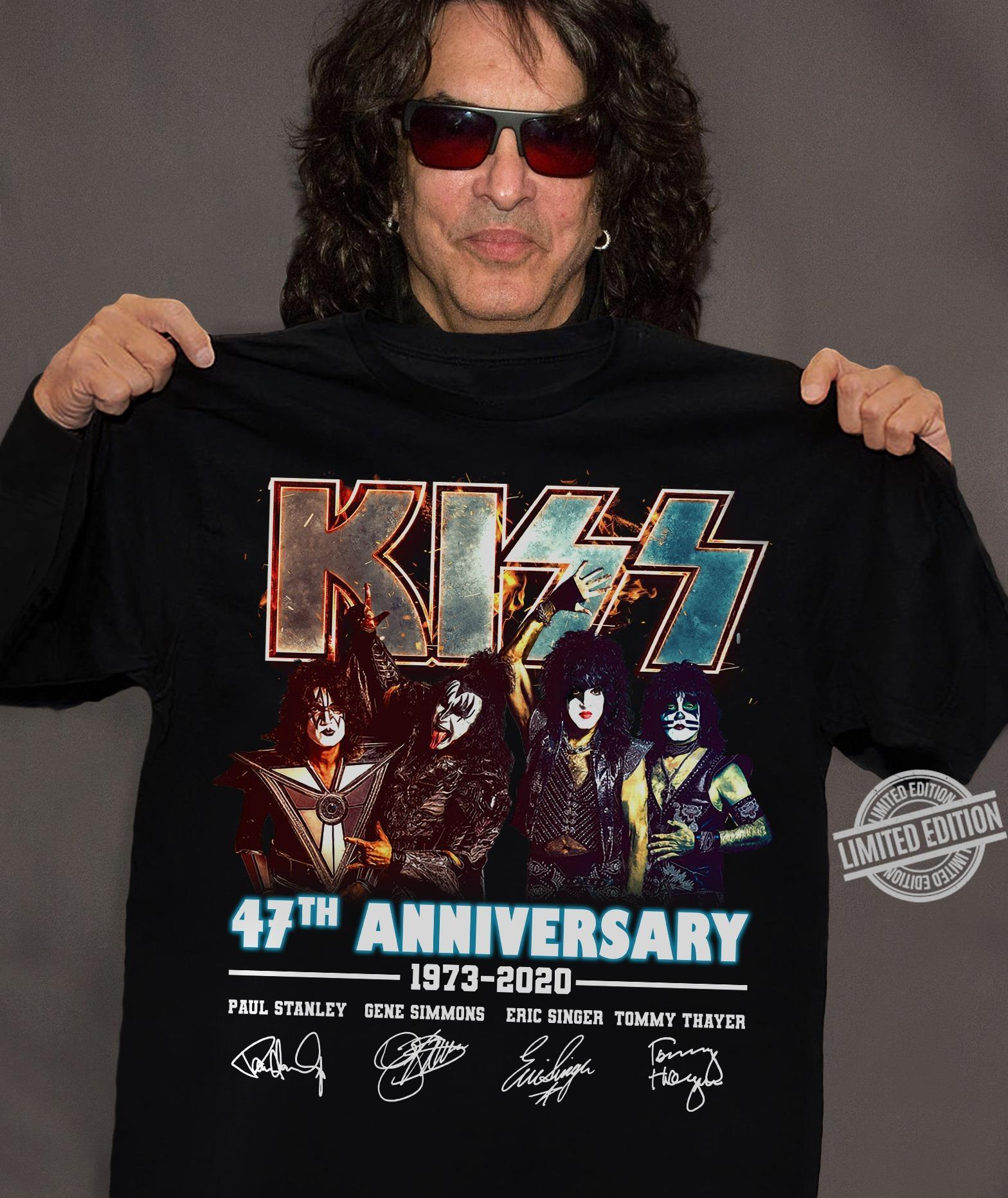 Kiss 47th Anniversary 1973-2020 Paul Stanley Gene Simmons Eric Sinder Tommy Thayer Shirt